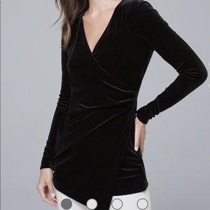 White House Black Market velvet draped tunic